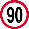 Sticker /autocollant : Disque de limitation de vitesse 90km/h rouge - 20cm