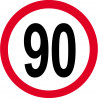 Sticker /autocollant : Disque de limitation de vitesse 90km/h rouge - 15cm