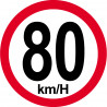 Sticker / autocollant : Disques de limitation de vitesse 80Km/H bord rouge - 15cm