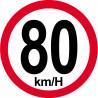 Sticker / autocollant : Disques de limitation de vitesse 80Km/H bord rouge - 15cm