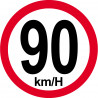 Sticker / autocollant : Disques de limitation de vitesse 90Km/H bord rouge - 10cm