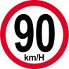 Sticker / autocollant : Disques de limitation de vitesse 90Km/H bord rouge - 10cm