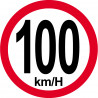 Sticker / autocollant : Disques de limitation de vitesse 100Km/H bord rouge - 15cm