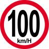 Sticker / autocollant : Disques de limitation de vitesse 100Km/H bord rouge - 20cm