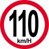 Sticker / autocollant : Disques de limitation de vitesse 110Km/H bord rouge - 15cm