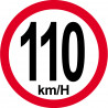 Sticker / autocollant : Disques de limitation de vitesse 110Km/H bord rouge - 10cm