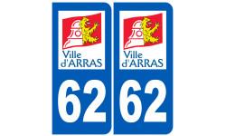 Sticker / autocollant : numéro immatriculation 62 Arras