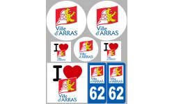 Sticker / autocollant : 62 Arras - 8 autocollants variés