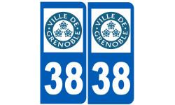 Sticker / autocollant : numéro immatriculation 38 Grenoble