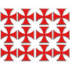 Sticker / autocollant : Croix des templiers - 12 autocollants de 5x5cm