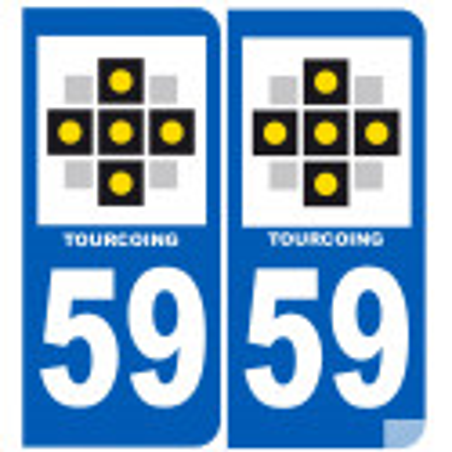 Sticker / autocollant : numéro immatriculation 59 Tourcoing