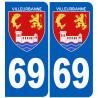 Sticker / autocollant : numéro immatriculation 69 Villeurbanne