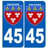 Sticker / autocollant : numéro immatriculation 45 Blason Orléans