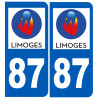 Sticker / autocollant : numéro immatriculation 87 Limoges