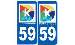 Sticker / autocollant : numéro immatriculation 59 Dunkerque