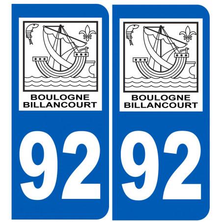 Sticker / autocollant : numéro immatriculation 92 Boulogne-Billancourt