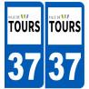 Sticker / autocollant : numéro immatriculation 37 Tours