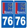 Sticker / autocollant : numéro immatriculation 76 Rouen