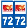 Sticker / autocollant : numéro immatriculation 72 le Mans