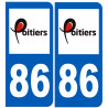 Sticker / autocollant : numéro immatriculation 86 Poitiers