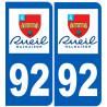 Sticker / autocollant : numéro immatriculation 92 Rueil-Malmaison