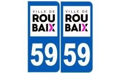 Sticker / autocollant : numéro immatriculation 59 Roubaix