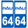 Sticker / autocollant : numéro immatriculation 64 Pau