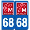 Sticker / autocollant : numéro immatriculation 68 Mulhouse