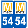 Sticker / autocollant : numéro immatriculation 54 Metz