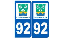 Sticker / autocollant : numéro immatriculation 92 Courbevoie