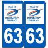 Sticker / autocollant : numéro immatriculation 63 Clermont-Ferrand