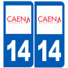 Sticker / autocollant : numéro immatriculation 14 Caen
