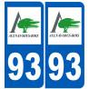 Sticker / autocollant : numéro immatriculation 93 Aulnay-sous-Bois