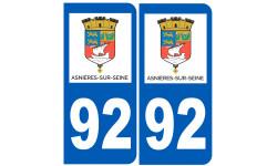 Sticker / autocollant : numéro immatriculation 92 Asnières-sur-Seine