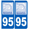 Sticker / autocollant : numéro immatriculation 95 Argenteuil