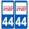 Sticker / autocollant : numéro immatriculation 44 Batz sur Mer