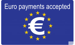 Sticker / autocollant : Euro payments accepted - 15x9.2cm
