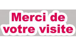 Sticker / autocollant : Merci de votre visite - 20x7cm