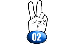 Sticker / autocollant : salut de motard département 02 - 10x4.8cm