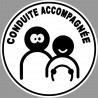 Sticker / autocollant : conduite accompagnée afro - 15cm