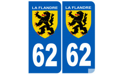 Sticker / autocollant : numéro 62 immatriculation Flandre