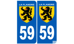 Sticker / autocollant : numéro 59 immatriculation Flandre