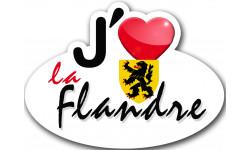 Sticker / autocollant : j'aime La Flandre 59 du Pas de Calais - 15x11cm