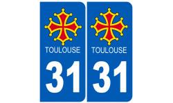 autocollant numéro immatriculation ville de Toulouse