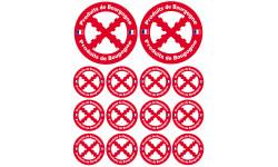 Sticker / autocollant : Produits Bourguignons - 2 de 10cm et 12 de 5cm
