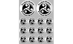 Sticker / autocollant :  Produit breton triskel - 2 fois 10cm / 12 fois 5cm