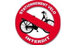 Sticker / autocollant : stationnement vélo interdit - 20cm