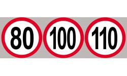 Sticker /autocollant : Lot Disques de limitation de vitesse 80-100-110 rouge - 10cm