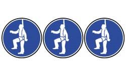 Sticker / autocollant : Protection contre la chute obligatoire - 3 stickers de 10cm