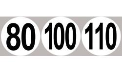 Sticker /autocollant : Lot Disques de limitation de vitesse 80-100-110 - 10cm
